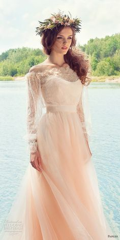papilio 2017 bridal long sleeves off the shoulder sweetheart neckline heavily embellished bodice peach color romantic a line wedding dress chapel train (cockatiel) zv -- Papilio 2017 Wedding Dresses Wedding Dresses 2018, Colored Wedding Dresses, Wedding Bridesmaid Dresses, Bridal Dresses, Bridesmaids, Flower Girl Dresses, Lace Dresses, 2017 Wedding, 2017 Bridal