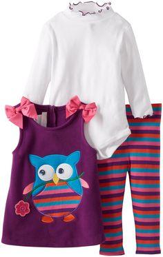 Bonnie Baby Baby-Girls Infant Owl Fleece Legging Set, Purple, 24 Months