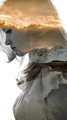 This photoshop combines scenery pictures with a portrait picture, which adds a very somber feeling to the image. Photomontage, Portraits En Double Exposition, Creative Photography, Portrait Photography, Photography Flowers, Levitation Photography, Popular Photography, Surrealism Photography, Water Photography