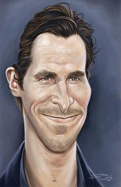Caricatura de Christian Bale, el protagonista de Batman.