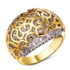 Anillos de bodas de oro verdadero plateado con cubic zirconia anillo de compromiso alta calidad para mujeres que envían libremente