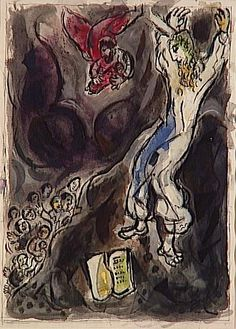 Moses breaks Tablets of Law - Marc Chagall