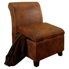 Found it at Wayfair - Milan Storage Slipper Chair in Rustic Brown