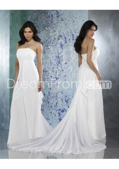 Chiffon Strapless Slim A line Skirt with Beautiful Pick up Chapel Train Wedding Dress WF-0021