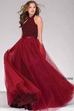 Look like an autumn princess in this burgundy ball gown #JOVANI #47001