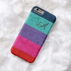 Colorful stripes texture monogrammed iPhone 6 case