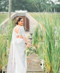 Bridesmaid Saree, Bridesmaids, Bridal Outfits, Bridal Dresses, Princess Cut Blouse, Neutral Wedding Colors, Wedding Sari, Embroidery Flowers Pattern, Bridal Sarees