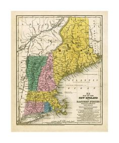 Map of the New England or Eastern States, c.1839
