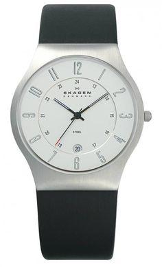 Skagen Mens Silver Dial Black Leather Strap Watch 233XXLSLC