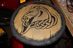 DIY Skyrim guard shield - week 3 - step 13 Could also be a cool table, and could do this for Game of Thrones stuff.
