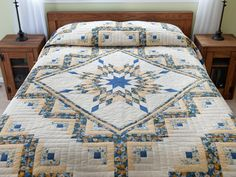 Lone Star Log Cabin Quilt -- magnificent ably made Amish Quilts from Lancaster (hs6490)