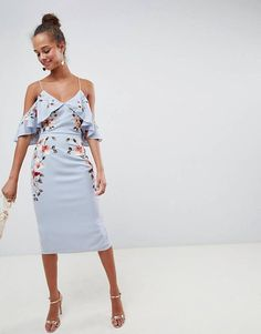 459f2d2a7ac ASOS DESIGN Embroidered Pencil Midi Dress With Cold Shoulder Going Out  Dresses