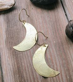 Hand-Forged Brass Crescent Moon Earrings by Tangleweeds on Scoutmob