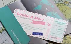 Wedding boarding card Faire part Americain style US billet avion Mariage www.latelierdelsa.com