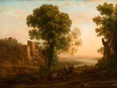 Landscape with Peasants Returning with Their Herds, Claude Lorrain, circa 1637, Purchased with funds from the State of North Carolina