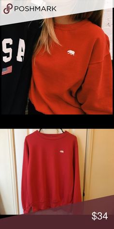 Brandy Melville red crewneck bear embroidered Red Erica crewneck new without tags Brandy Melville Tops Sweatshirts & Hoodies