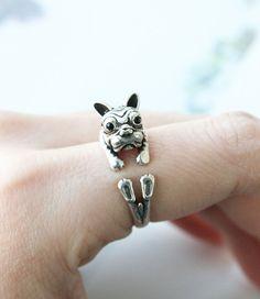 Bulldog Ring Puppy Ring Dog Ring Adjustable Ring by petitformal