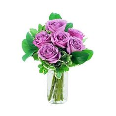 KaBloom Lilac Roses Fresh Flower Arrangement ($26) ❤ liked on Polyvore featuring home, home decor, floral decor, flower bouquet, flower stem, rose bouquet, flower arrangement and lilac bouquet