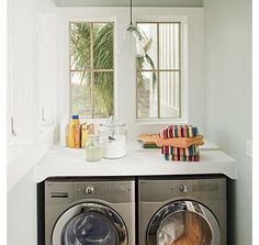 Make your laundry room a place that brightens your whites — and your mood. Keeping things fresh and light in the laundry area can help make this chore feel a little more fun. Clean white or bright, sunny hues are a great choice. If you like to buy giant containers of detergent, decanting them into glass jars will make them more attractive and more convenient to use.
