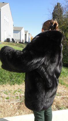 Luxury Russian Black Fox Fur Coat Jacket Large 10 | eBay