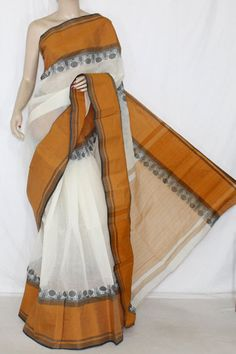 Off-White Mustared Handwoven Bengali Tant Cotton Saree (Without Blouse) 14247