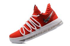 564a9812876 Supreme x Nike KD 10 University Red White Men s Basketball Shoes Boys Basketball  Shoes