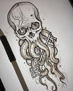 Skull art Skull Sketch, Octopus Sketch, Octopus Drawing, Sketch Ink, Tattoo Sketches, Tattoo Drawings, Art Drawings, Nordisches Tattoo, Tattoo Crane
