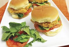These Corn Flake Crusted Ranch Chicken Sandwiches are a healthier version of a fried chicken sandwich. Serves 6