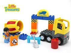 Little Treasures DIY 30Pc Building Brick Construction Play Set from Little Treasures Complete with Cement Mixer Truck and Construction Worker  Duplo Lego Compatible  Tight Fit >>> Read more  at the image link.