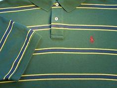 Ralph Lauren POLO Rugby LOGO Mens Shirt 2XL Green Yellow Blue Short Sleeve EUC!
