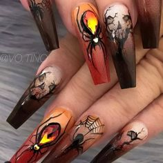 Nail art Christmas - the festive spirit on the nails. Over 70 creative ideas and tutorials - My Nails Holloween Nails, Halloween Acrylic Nails, Cute Halloween Nails, Halloween Nail Designs, Cute Acrylic Nails, Gel Nails, Manicure, Halloween Halloween, Halloween Decorations