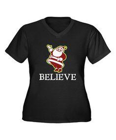 Look at this #zulilyfind! Black 'Believe' V-Neck Tee - Women & Plus #zulilyfinds