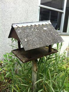 Asbestos cement bird table roof