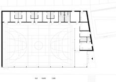 Floor plan of Parisian sports hall by Ateliers O-S Architectes with bands of light on its walls