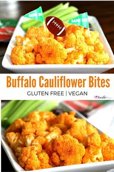 Easy vegan and naturally gluten free Buffalo Cauliflower bites that are the perfect appetizer for your Super Bowl game day party! TheFitFoodieMama.com