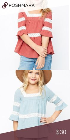 0b0c3e9010b4b9 Hayden Los Angeles Baby Doll Top Flutter Sleeves Cotton blend top is an  adorable addition to