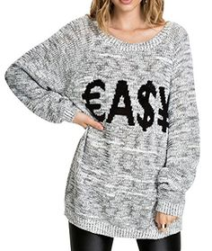 Fengbay Women's Oversized Letter Embroided Ribbed Crewneck Knitted Sweater Fengbay http://www.amazon.com/dp/B00X562W7A/ref=cm_sw_r_pi_dp_09Mlwb0HW0XFS