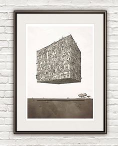Cube-City,  Poster Surrealism, architectural Drawing Architecture sketch