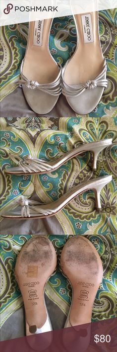 """😍Jimmy Choo silver sandals size 37.5/ 7 I purchased these second hand (barely worn ) and I've only worn them a couple is times . So adorable on ! Very nice preowned condition . No box or bag . Euro 37.5 ( fits like a US 7) 2 1/2 """" heel Jimmy Choo Shoes Heels"""