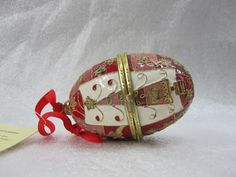 Vintage Cloisonne Egg Red, Gold, White Enamel ,Gold plated, ribbon for hanging  PLEASE VISIT MY ETSY& EBAY  SITES FOR QUILTING, FABRIC, VINTAGE ITEMS, CROCHET, ETC.  http://www.etsy.com/shop/QuiltingbyDiamanti http://stores.ebay.com/rpmdtm