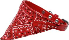 Red Western Bandana Pet Collar Red Size 16