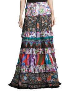 Mixed-Print+Tiered+Maxi+Peasant+Skirt,+Multicolor+by+Roberto+Cavalli+at+Neiman+Marcus.