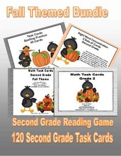 Bundle of Second Grade Task Cards and Game 4CCSS-Fall Theme from Mrs. Mc's Shop on TeachersNotebook.com -  (171 pages)  - Buy 3 and get 4th product free!  This fun bundle has 120 task cards and a concentration game for practice in reading sight words. The fall theme is a fun whimsical one with charming crows that your students will enjoy as they practice important basic skil