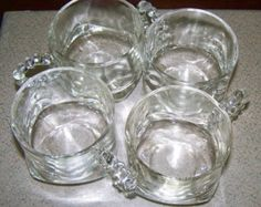 Mid Century Hazel Atlas/ Anchor Hocking Glass Cups Boopie/Candlewick Set of 4