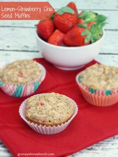 Lemon-Strawberry Chia Seed Muffins - An egg-free muffin flavored with Lemon and Strawberries and the added benefit of white whole wheat flour and Chia Seeds! This Lemon-Strawberry Chia Seed Muffin is low-carb, low sugar, and absolutely delicious!