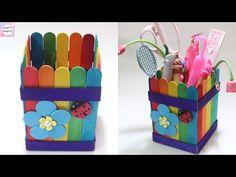 DIY Pen holder with icecream sticks Craft Desk, Diy Desk, Creative Crafts, Easy Crafts, Diy For Kids, Crafts For Kids, Ice Cream Stick Craft, Diy Popsicle Stick Crafts, Popsicle Sticks