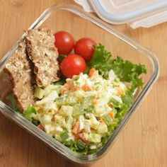 Veggie Egg Salad  Crunchy carrot, cucumber and scallions are a colorful addition to this vegetarian egg salad recipe. Pack it with some crunchy crackers and tomatoes for a healthy, light lunch.