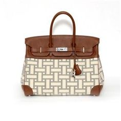 Authentic Vintage Hermes 35cm Birkin Bag in Two-Tone Canvas Barenia with Palladium  Hardware - 23b296f94af9b