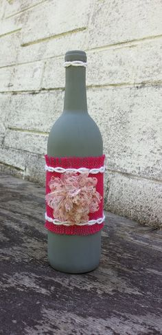 Decorative wine bottle painted gray with by HappinessHandcrafted, $15.00