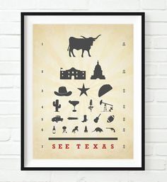 See Texas Eye Chart Art Print, UNFRAMED, longhorn cowboy star taco alamo come and get it wall & home decor poster sign, Birthday - Housewarming - Christmas gift, ALL SIZES Only In Texas, Eye Chart, Texas History, Art Prints, Artist, Handmade, Print Poster, Pop Culture, Texas Things